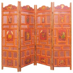 Cinnabar Red Indian Folding Screen with Painted Shells and Animal Deities