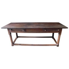 18th Century Basque Dark Oak Refectory Table with Two Drawers