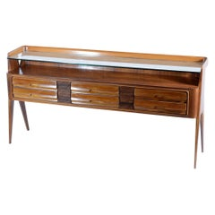 Dassi Midcentury Console or Chest Six Drawers Glass Shelve, 1950s Italia