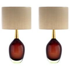 "Seguso Vetri d'Arte ""Sommerso"" Murano Glass Signed Pair of Table Lamps, 1950s"