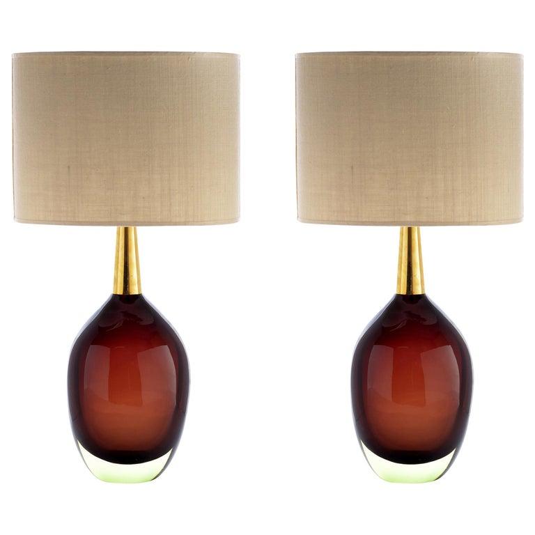 "Seguso Vetri d'Arte ""Sommerso"" Murano Glass Signed Pair of Table Lamps, 1950s"