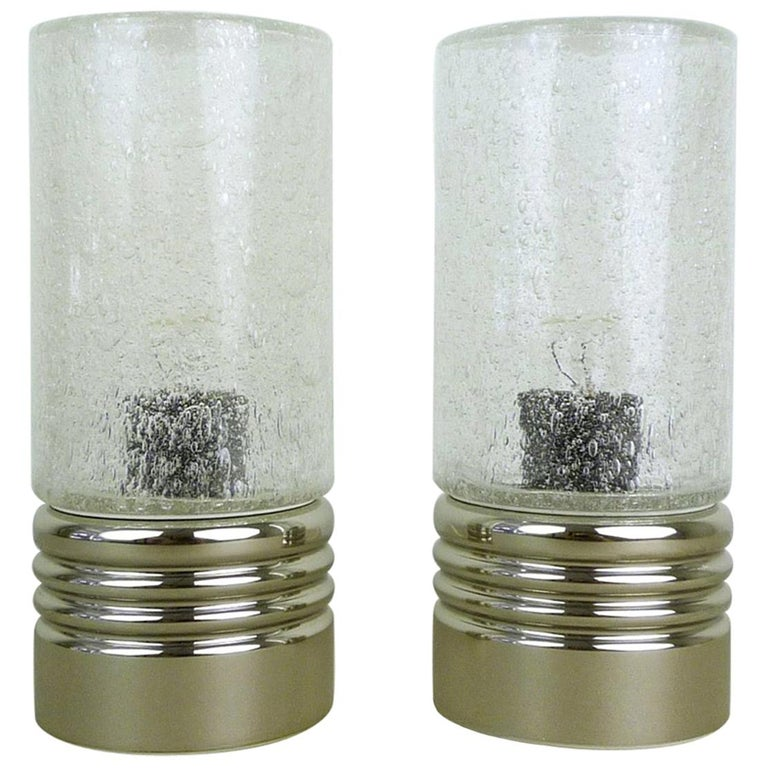 Pair of Cylindrical Table Lamps with Bubble Glass, Germany, 1960s