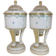 Antique Pair of Vienna Porcelain Sprig Decorated Ice Pails, Lids and Liners