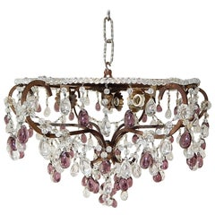 French Flush Mount Beaded Dome Maison Baguès Amethyst Drops Chandelier