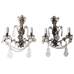 Bronze Crystal Swags and Stars Prisms French Sconces, circa 1900