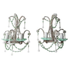 French Rare Sea Foam Green Opaline Sconces, circa 1920