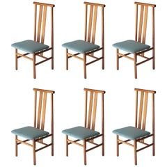 Set of Six Chairs Made of Teak with Upholstered Seat, Italy, 1960