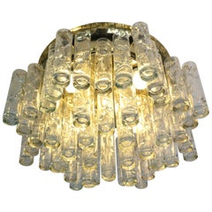 Doria Glass and Brass Flush Mount Tube Chandelier, 1960s