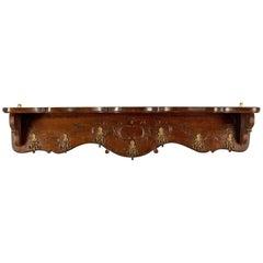 Antique Set of Coat Hooks, Edwardian, Wall Mounted, Hall Shelf, Walnut