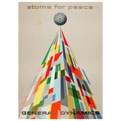Original Vintage General Dynamics Atoms for Peace Poster, Atomic Energy Geneva