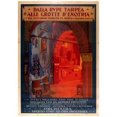 Large Original Vintage Wine Restaurant Poster for Dalla Rupe Tarpea Enotria Rome
