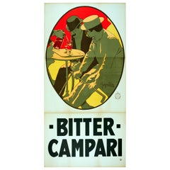 Large Early Original Antique Drink Advertising Poster, Bitter Campari Aperitif