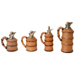 Set of Four Thermos by Aldo Tura for Macabo Milan Italy 1950s Bamboo