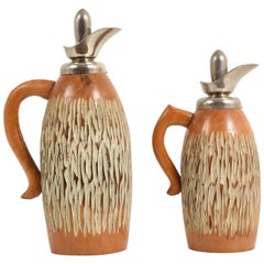Set of Two Thermos by Aldo Tura for Macabo, Milan, Italy, 1950s, Carved Wood