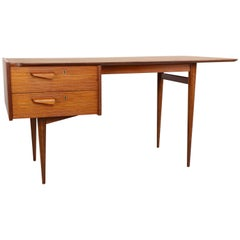 Charming Midcentury Teak Wood Writing Desk 1950s