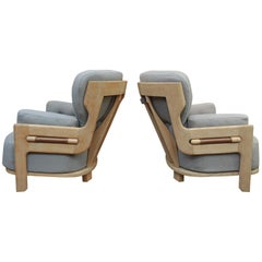 Pair of French Guillerme & Chambron Denis Lounge Chairs in Solid Oak, circa 1960