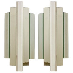 Pair of Large Sculptural Mirror Glass Wall Flush Mounts Sconces, 1960s