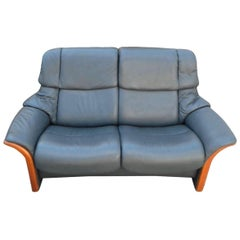 Leather Grey Living Room French Set of Sofa and Armchair