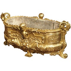 Antique French Gilt Bronze Jardiniere, circa 1880