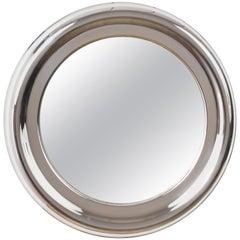 Round Mirror, Steel Vintage, Italy 1960s Midcentury Modern, Artemide Style