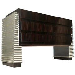 1950 Murano Macassar and Glass Mirror Italian Midcentury Chests of Drawers