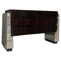 Murano Macassar and Mirrored Glass Italian Midcentury Chests of Drawers, 1950