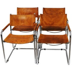 Set of Four Cognac Leather Armchairs by Mart Stam, Fasem, Italy