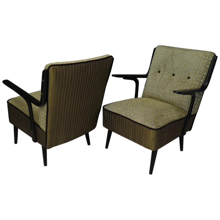 Pair of 1940 Black and Green Velvet Art Deco Armchairs