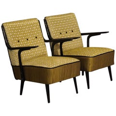 Pair of Art Deco Green Velvet and Black Lacquered Wood Armchairs, 1940