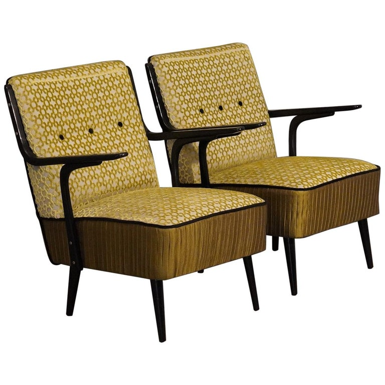 Art Deco Green Velvet and Black Lacquered Wood Armchairs, 1940 For Sale