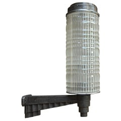 Huge Holophane Cast Iron and Prismatic Glass Hotel Wall Light Sconce, circa 1925