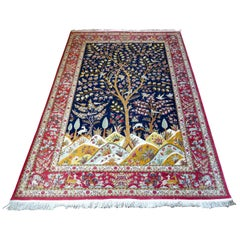 Beautiful Signed Hand-Knotted Tree of Life Pattern Qom Persian Silk Rug