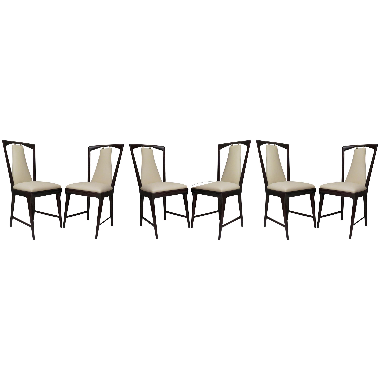 Set of 6 Osvaldo Borsani Mahogany and Leather Italian Chairs, 1950