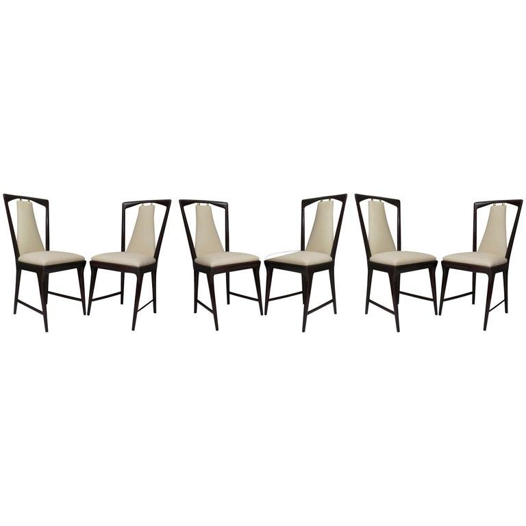 Set of 6 Osvaldo Borsani Mahogany and Leather Italian Chairs, 1950 For Sale