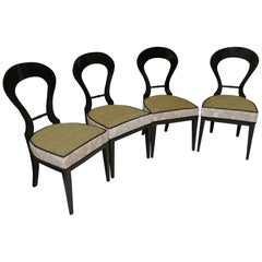 1820 Biedermeier Black Shellac and Velvet Austrian Chairs