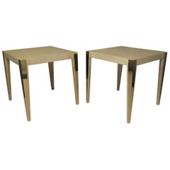 1950 Square Parchment and Brass Italian Midcentury Side Table