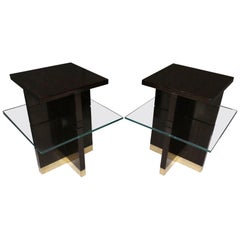 Pair of Midcentury Square Macassar Brass and Glass Italian Side Tables, 1950