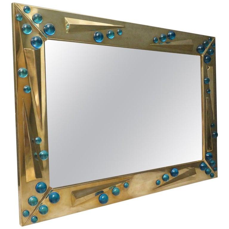 1970 Murano Art Glass and Brass Italian Midcentury Mirror