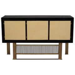 Midcentury Macassar Goat Skin Brass and Glass Italian Sideboards, 1950