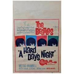 The Beatles Original a Hard Days Night Window Card