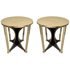 1960 Round Parchment and Brass Midcentury Side Table