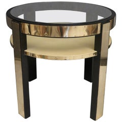 Midcentury Round Goatskin Brass and Glass Italian Side Table, 1940