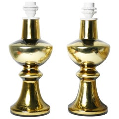 Pair of Gold Glass Encased Lamps