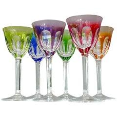 Set of Six Moser Crystal Cut Wine Glasses Stemware Saint Louis Baccarat Style