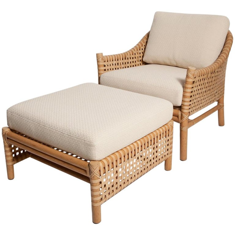 Vintage Woven Leather Armchair and Ottoman Set by McGuire For Sale
