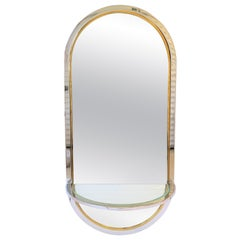 Brass and Chrome Console Wall Mirror