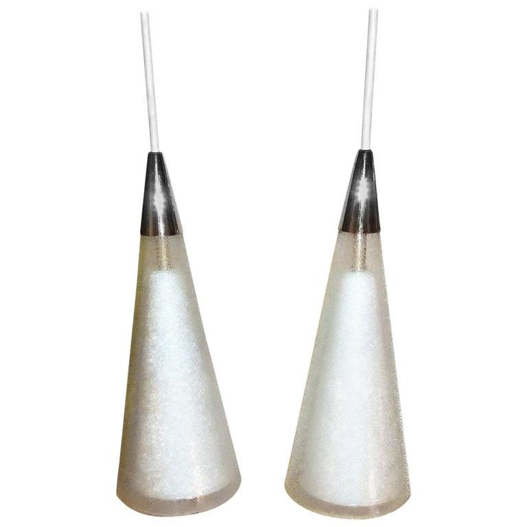 1950s Italian Blown Glass Double Cone Pendants