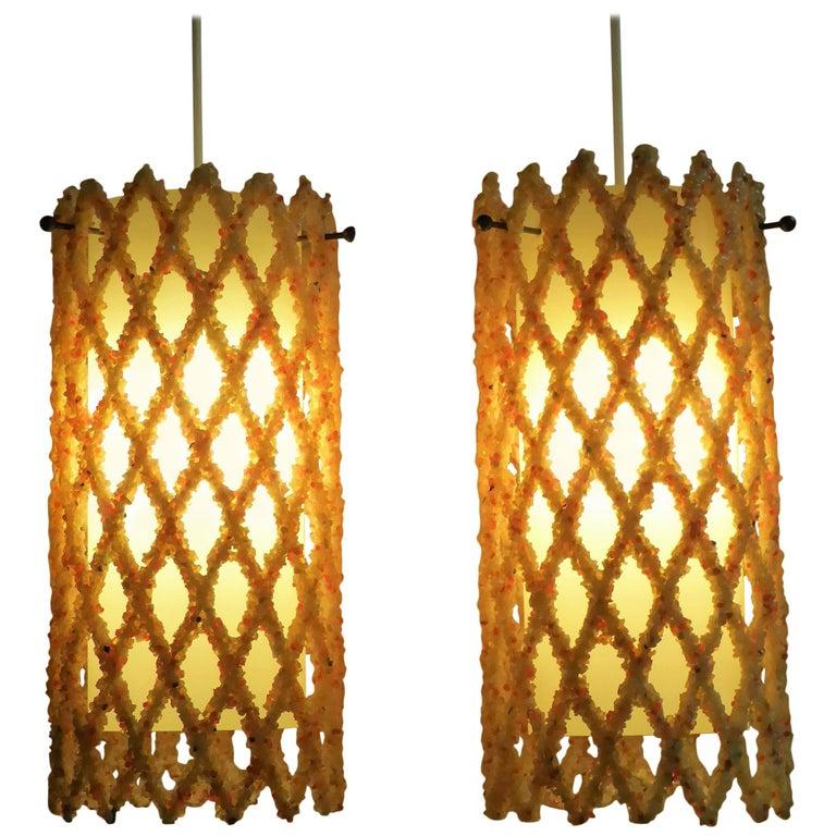 1960s Resin Crystal Lattice Pendants
