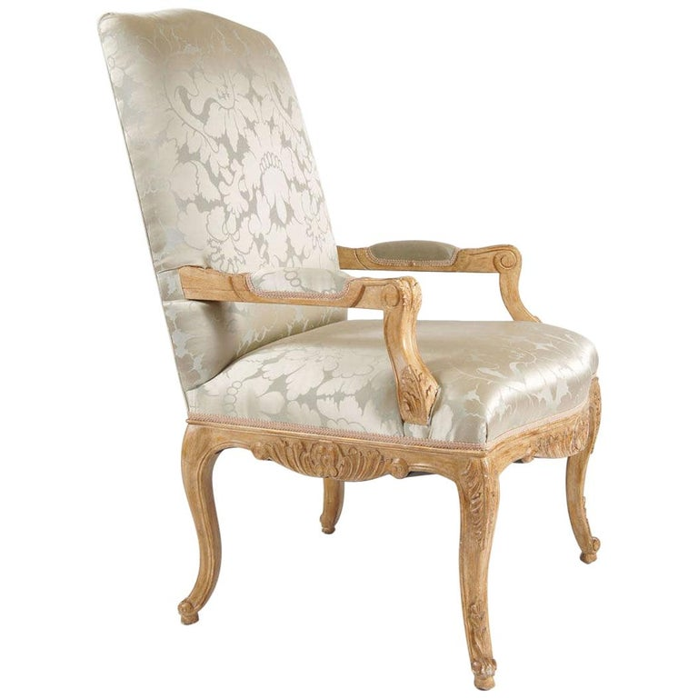 Louis Xiv Style Chair Silk Damask Upholstery For