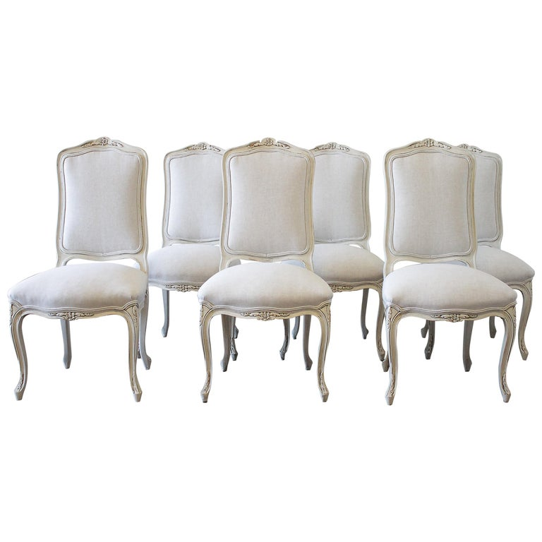 20th Century Set Of Six Painted French Provincial Dining Chairs In Belgian Linen For